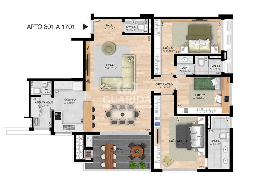Apartamento de 3 dormitórios à venda em Centro, Esteio - RS